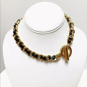 C Wonder Toggle Necklace Black Leather Gold Chain